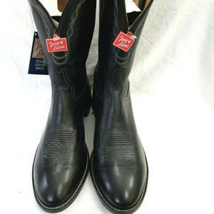 Tony Lama Black Leather Doeskin Cowboy Boots 10D